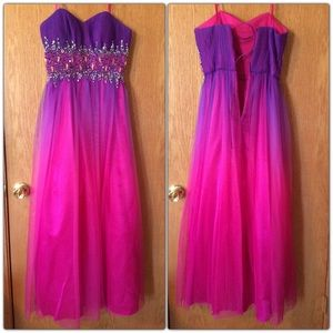 Strapless Purple and Pink Ombré Tulle Formal Dress
